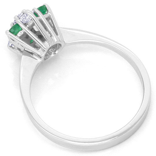 Foto 3, Smaragd Diamant Ring, Emeralds und Brillanten Weissgold, S4453