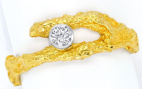 Foto 2 - Brillant Rohgold Ring River D Lupenrein Platin 18K Gold, S4460