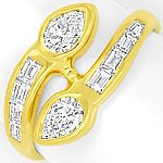 Diamanten Ring Tropfen Diamanten Baguette Diamanten 18K