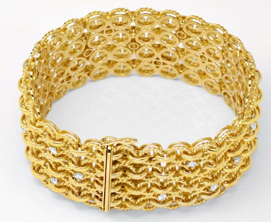 Foto 3, Handarbeits Brillantarmband 106G 18K Gold 1.8ct Schmuck, S4495