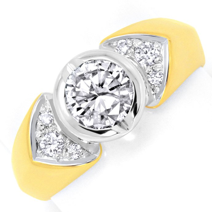 Goldring 0,84ct Solitär Brillant, 0,12ct in Schiene 18K, Designer Ring