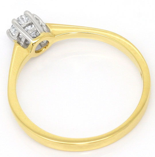 Foto 3, Brillant Ring 0,30 Carat River D 18K Gelbgold Weissgold, S4512