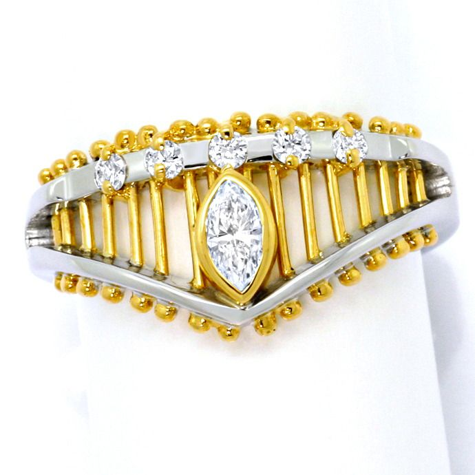 Design Navette Diamant Brillant Ring Gelbgold Weissgold, Designer Ring