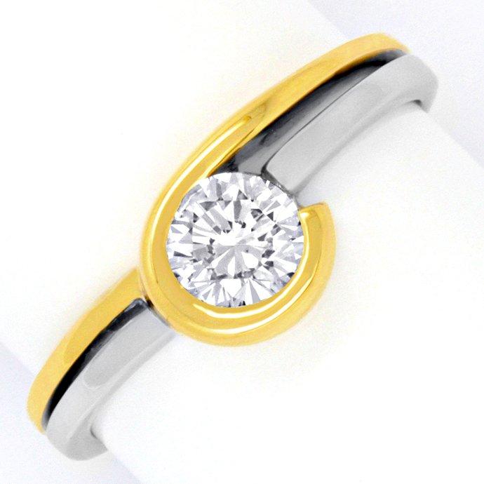 Topdesign Diamantring 0,48ct Brilant Gelbgold Weissgold, Designer Ring