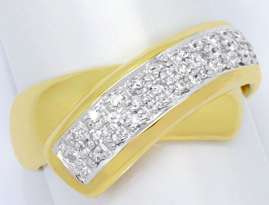 Foto 2, Gold Ring 31 Stueck Diamanten 0,23ct, 14 Karat Gelbgold, S4538