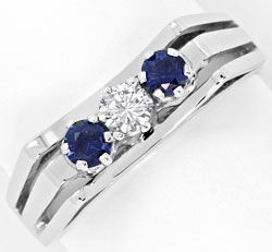 Foto 1, Handarbeits Ring 0,15ct Brillant 0,34ct Safire 18K Gold, S4539