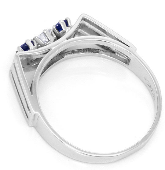Foto 3, Handarbeits Ring 0,15ct Brillant 0,34ct Safire 18K Gold, S4539