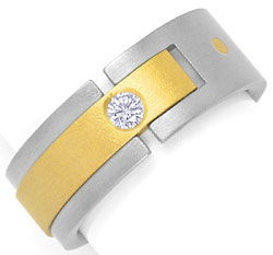 Foto 1, Designer Brillant Ring 0,085ct Top Wesselton Titan Gold, S4545