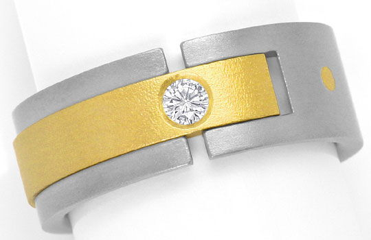 Foto 2, Designer Brillant Ring 0,085ct Top Wesselton Titan Gold, S4545