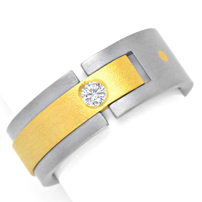 Designer Brillant Ring 0,085ct Top Wesselton Titan Gold, Designer Ring