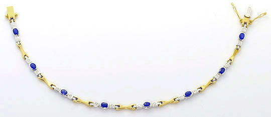 Foto 1, Safir Brillant Armband 1,80ct Safire Gelbgold Weissgold, S4547