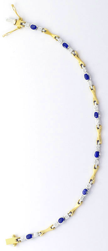 Foto 3, Safir-Brillant-Armband 1,80ct Safire Gelbgold Weissgold, S4547