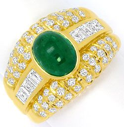 Foto 1, Smaragd Ring Princess Diamanten und Brillanten 18K Gold, S4560