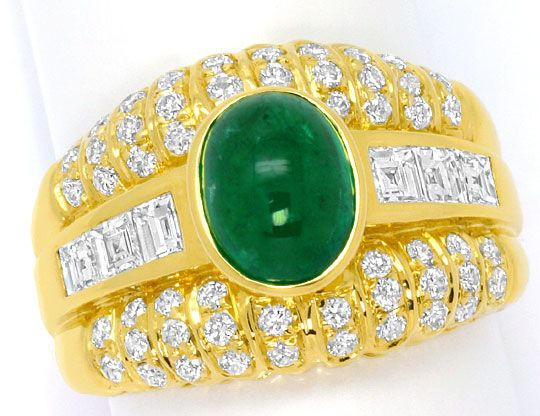 Foto 2, Smaragd Ring Princess Diamanten und Brillanten 18K Gold, S4560