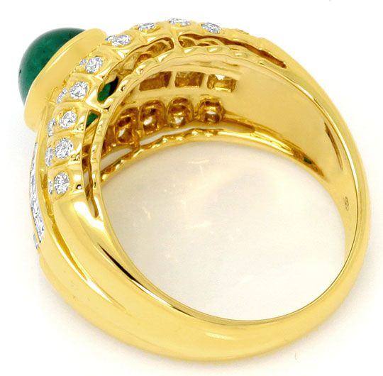Foto 3, Smaragd Ring Princess Diamanten und Brillanten 18K Gold, S4560