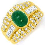 Smaragd Ring Princess Diamanten und Brillanten 18K Gold