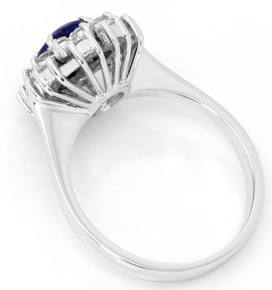 Foto 3, Saphir Ring mit Brillianten 0,43ct River, 18K Weissgold, S4563