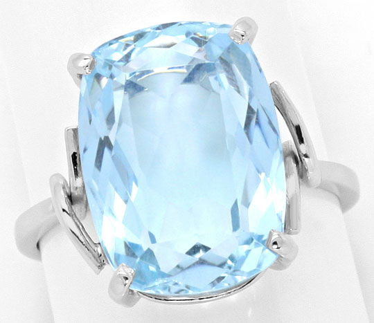 Foto 2, Handarbeits Ring 8ct Spitzen Aquamarin in 14K Weissgold, S4566