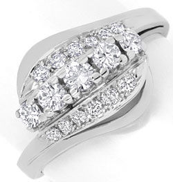 Foto 1, Diamant Goldring 0,60ct River Brillianten 14K Weissgold, S4606