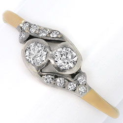 Foto 1, Original antiker Diamanten-Gold-Ring 0,30 ct Altschliff, S4608