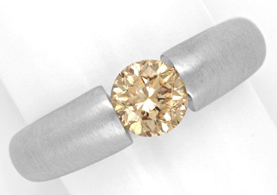 Foto 2, Brillant Spannring 18K Weiss 1,04ct Fancy Colour Luxus!, S4631