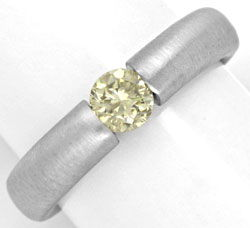Foto 1, Brillant-Spannring 18K, 0.49ct Fancy Light Lemon Luxus!, S4632