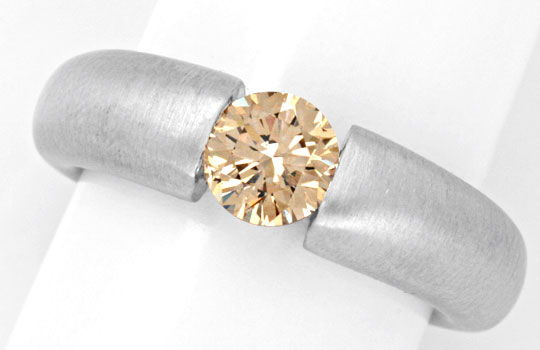 Foto 2, Diamant Spannring HRD 1.00ct Fancy Color 18K Luxus! Neu, S4633