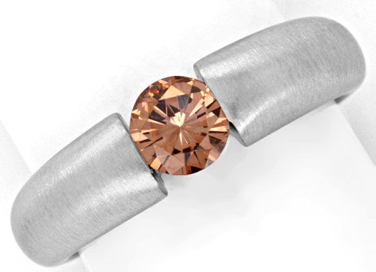 Foto 2, Brillantspannring HRD 0,55ct Fancy Intense Brown Luxus!, S4636