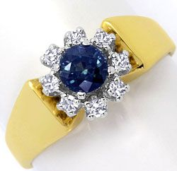 Foto 1, Safir Diamant Ring 0,17ct River, 14K Gelbgold Weissgold, S4639