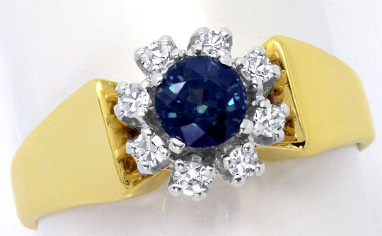 Foto 2, Safir Diamant Ring 0,17ct River, 14K Gelbgold Weissgold, S4639