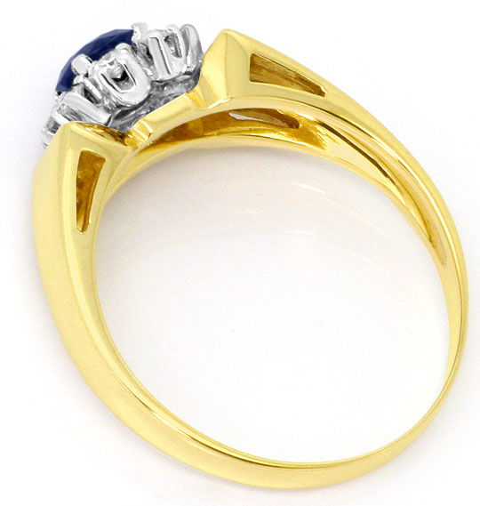 Foto 3, Safir Diamant Ring 0,17ct River, 14K Gelbgold Weissgold, S4639