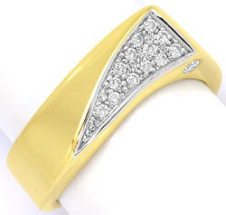 Foto 1, Designer Diamant Ring 0,17ct River Brillianten Gelbgold, S4640