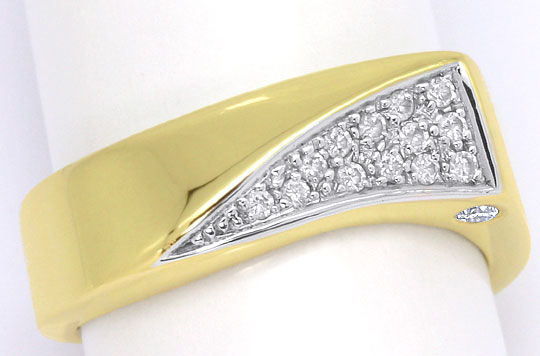 Foto 2, Designer Diamant Ring 0,17ct River Brillianten Gelbgold, S4640