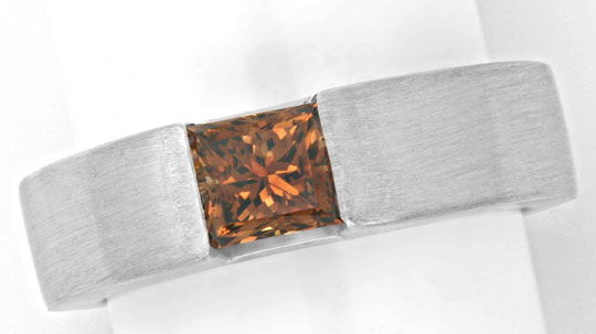 Foto 2, Ring 1,03 Princess Diamant HRD F. Intense Brown Schmuck, S4649