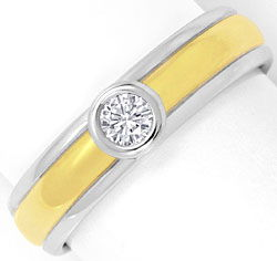 Foto 1, Brilliant-Ring 0,125ct Top Wesselton Gelbgold Weissgold, S4650