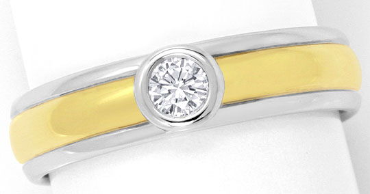 Foto 2, Brilliant Ring 0,125ct Top Wesselton Gelbgold Weissgold, S4650