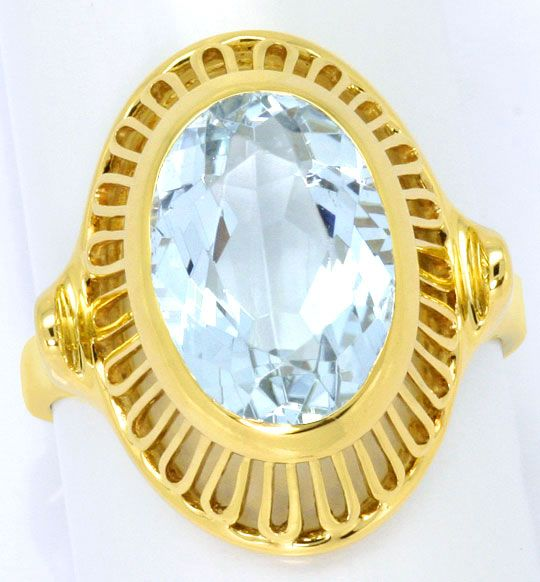 Foto 2, Gelbgold Ring 4ct grosser Aquamarin in 585er Handarbeit, S4670