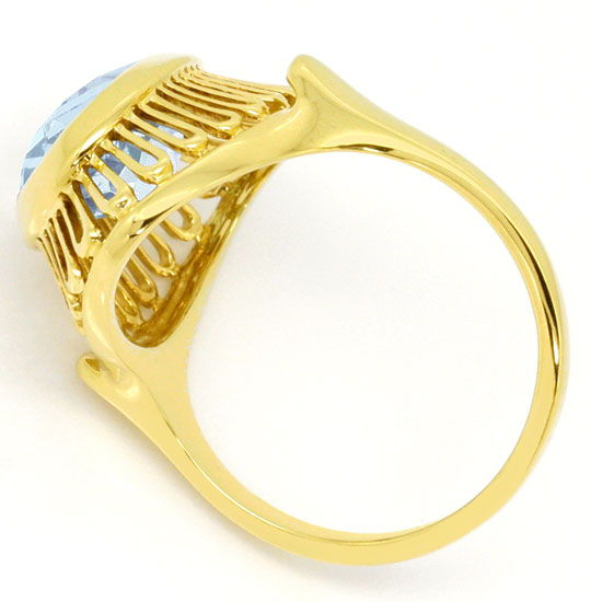 Foto 3, Gelbgold Ring 4ct grosser Aquamarin in 585er Handarbeit, S4670