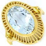 Handarbeits-Ring mit 4ct Grossem Aquamarin 14K Gelbgold