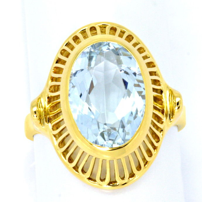 Gelbgold Ring 4ct grosser Aquamarin in 585er Handarbeit, Edelstein Farbstein Ring