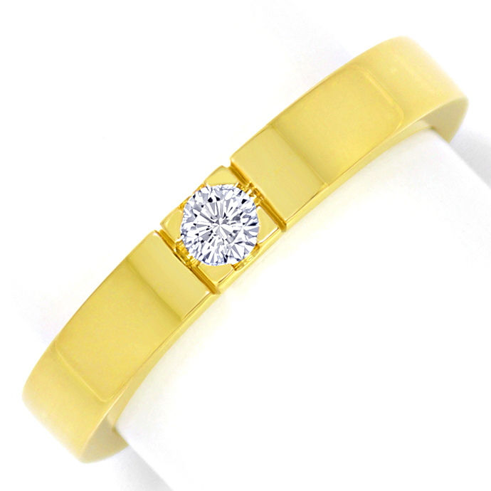 Diamant Gelbgoldring 0,14ct River Lupenrein massiv Gold, Designer Ring