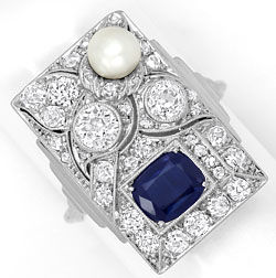 Foto 1, Art Deco Ring 1,51ct Diamanten Saphir Perle Platin Gold, S4700