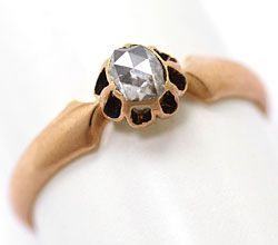 Foto 1, Original antiker Diamant Ring 0,27 Diamant Rose Rotgold, S4712