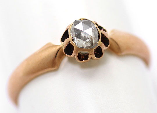 Foto 2, Original antiker Diamant Ring 0,27 Diamant Rose Rotgold, S4712