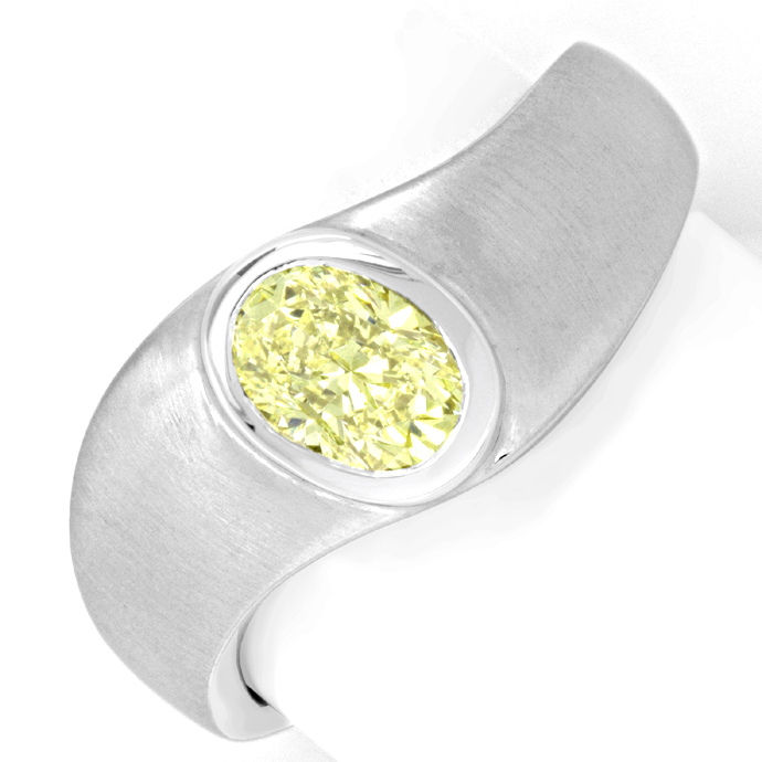 Zitronen Lemon Solitär Diamantring Weissgold 18K Luxus!, Designer Ring