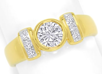 Foto 1, Toller Diamantring mit 0,99ct River Brillanten 18K Gold, S4758