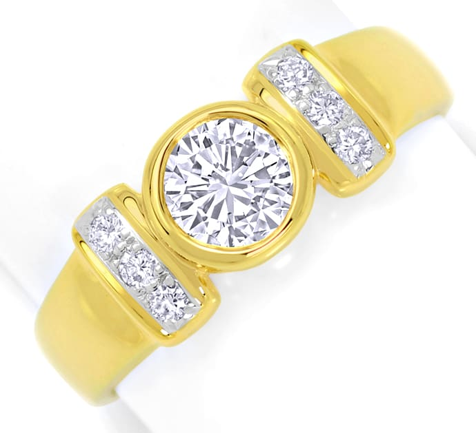 Foto 2, Toller Diamantring mit 0,99ct River Brillanten 18K Gold, S4758