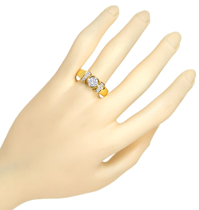 Foto 4, Toller Diamantring mit 0,99ct River Brillanten 18K Gold, S4758