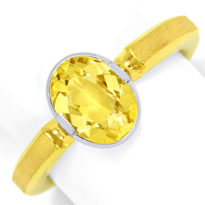 Design Ring mit 1,6ct Gold Beryll Heliodor Bicolor Gold, Edelstein Farbstein Ring