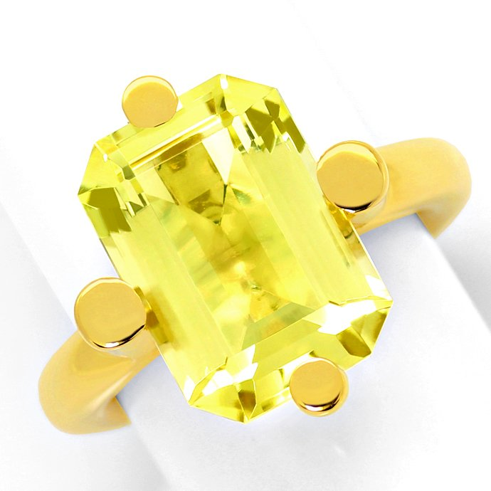 Grosser 12,6ct Citrin in Designer Ring, massiv Gelbgold, Edelstein Farbstein Ring